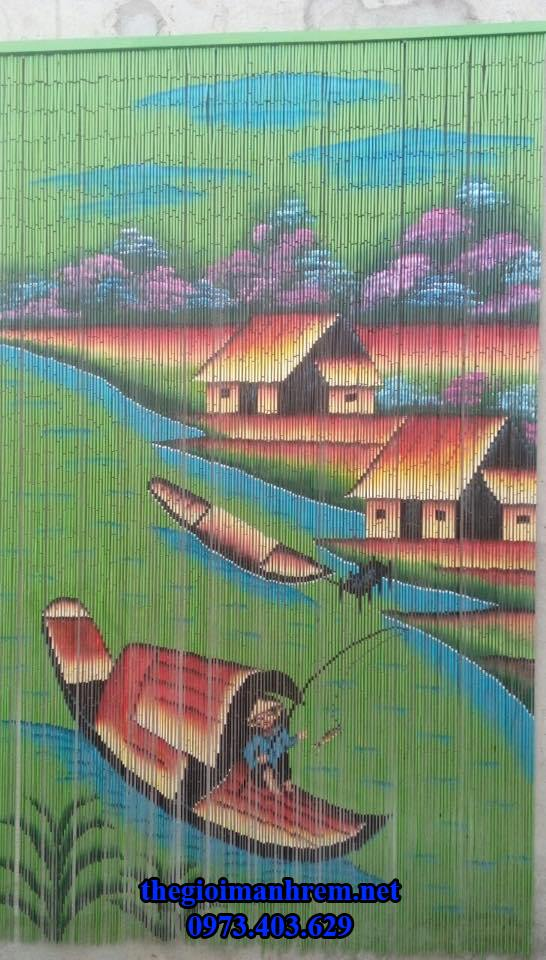 mành trúc vẽ tranh phong cảnh