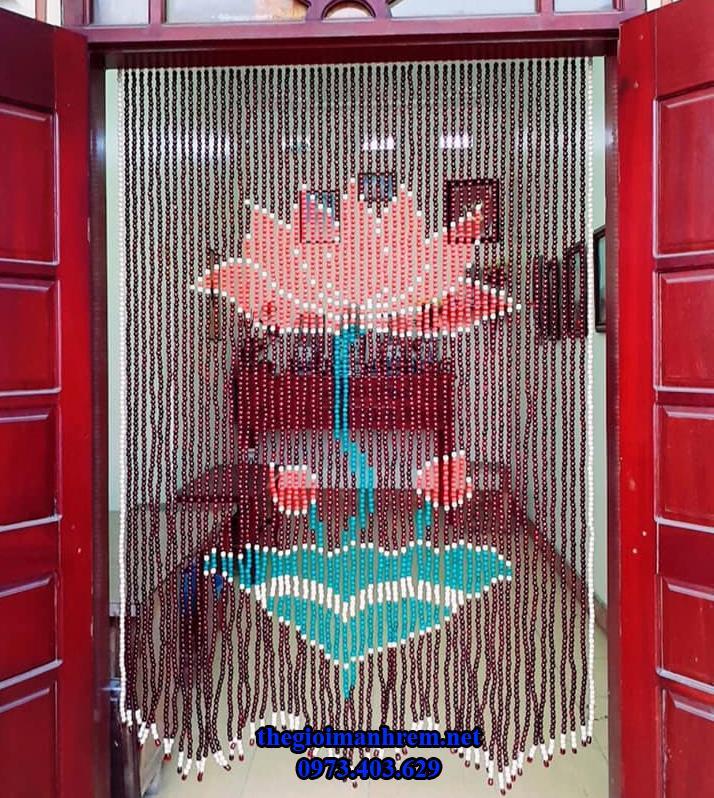 rèm hạt gỗ trang trí treo cửa chính