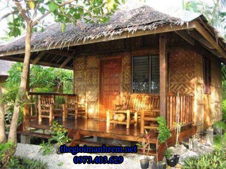 Không gian nghỉ dưỡng với nhà tre mái lá