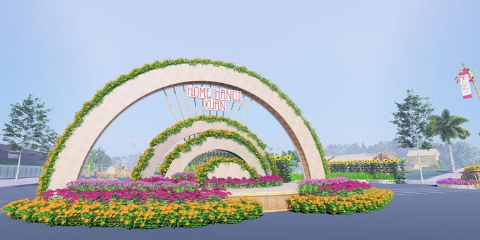 Cổng chào Đường hoa Home Hà Nội xuân 2021