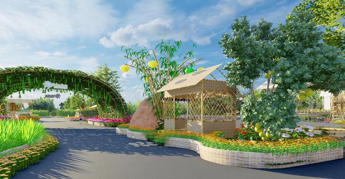Cửa vào cổng của  đường hoa Home Hanoi Xuan 2021
