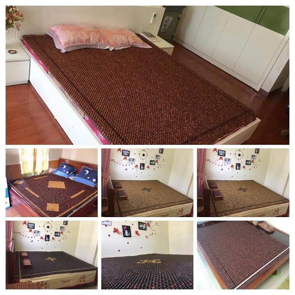 Đệm hạt gỗ lót giường ngủ